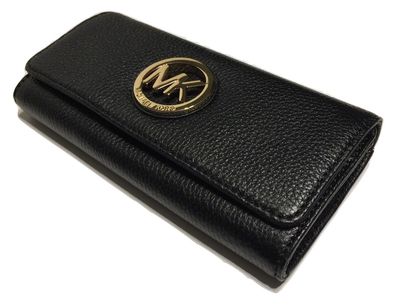 75febe6a575a Michael Kors Fulton Flap Continental Clutch Wallet Black Leather